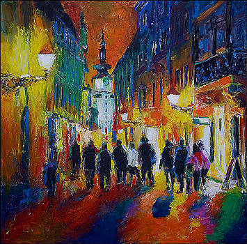 Michaels street at night by Peter Black