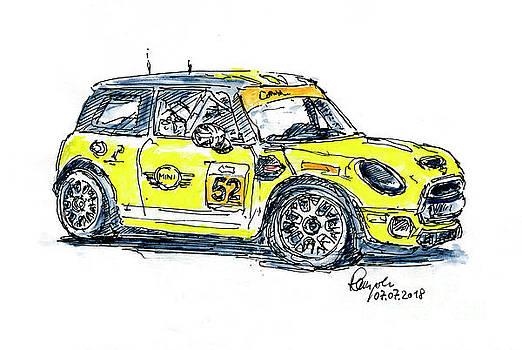 Frank Ramspott - MINI JCW Team Ink Drawing and Watercolor