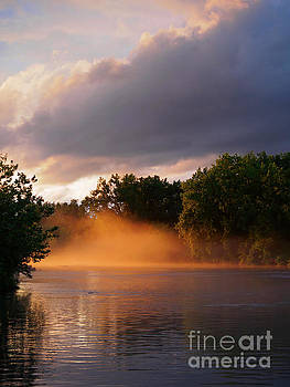 Mist at sunset on the Erie Canal near Utica New York by Louise Heusinkveld