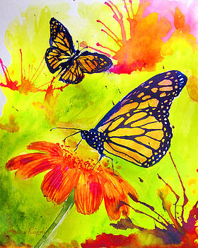 Monarch Butterflies Green by Laura Rispoli
