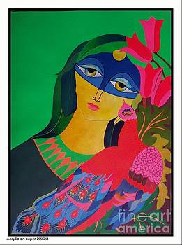 Peacock with women by Shahzad Zar