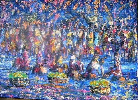Moonlight Market Scene by Joseph Muchina