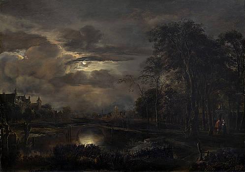 Aert Van Der Neer - Moonlit Landscape With Bridge