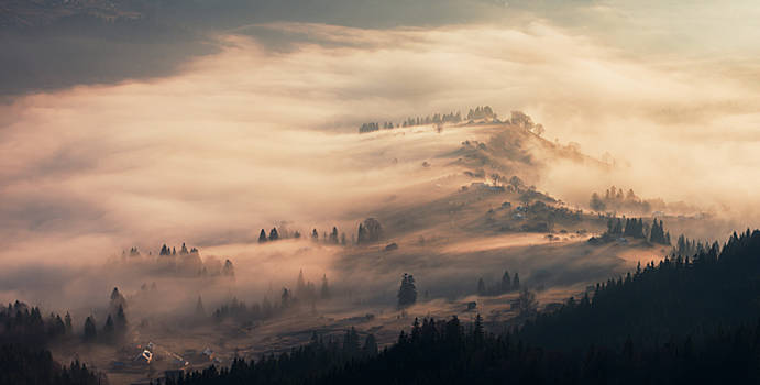 Morning fog in mountain village. Carpathians by Sergey Ryzhkov