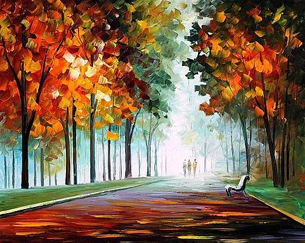 Morning Fog - PALETTE KNIFE Oil Painting On Canvas By Leonid Afremov by Leonid Afremov
