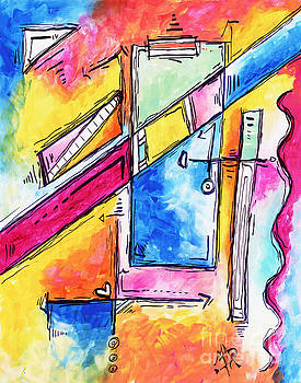 MORNING JOURNEY Original Abstract Pop Art Style Colorful Abstract Painting by Megan Duncanson