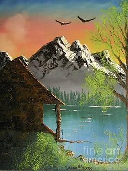 Mountain Lake Cabin w Eagles by Marianne NANA Betts