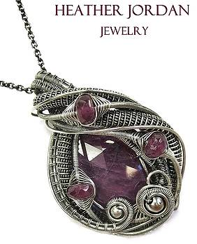 Natural Ruby Wire-Wrapped Pendant in Tarnish-Resistant Antiqued Sterling Silver with Pink Sapphire by Heather Jordan