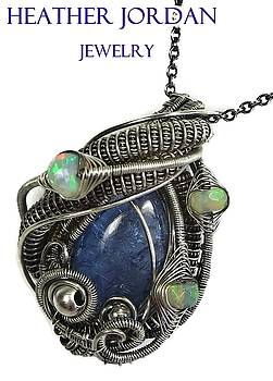 Natural Tanzanite Wire-Wrapped Pendant in Antiqued Sterling Silver with Ethiopian Welo Opals by Heather Jordan