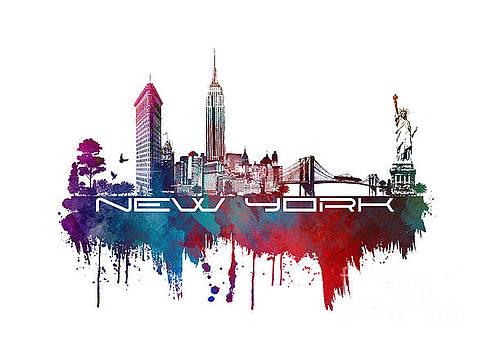 Justyna Jaszke JBJart - New York city skyline blue