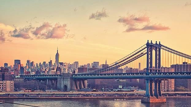 America New York city orange sky cityscape  by Georgi Dimitrov