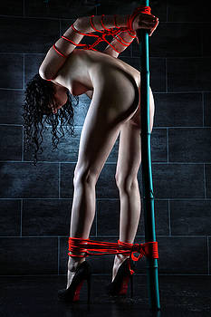 Rod Meier - Nude tied to a bamboo tube - Fine Art of Bondage