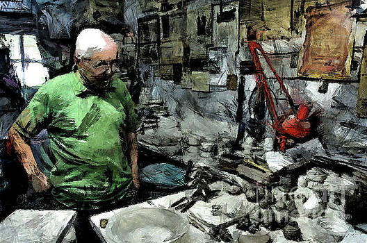 Old craftsman portrait in the laboratory by Giuseppe Cocco