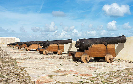 Compuinfoto - old rusty cannons on walls at Sagres Portugal