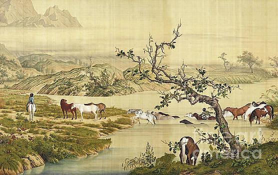 One Hundred Horses 1 by Giuseppe Castiglione