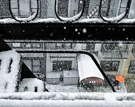 Orange Umbrella In The Snow - Winter In New York by Miriam Danar