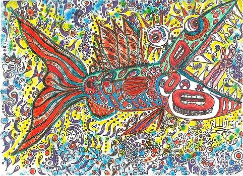 Peace Funky Folk Fish by Robert Wolverton Jr