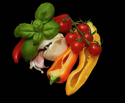 Peppers Basil Tomatoes Garlic by David French
