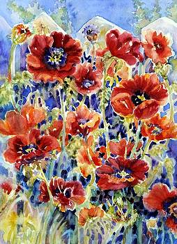 Picket Fence Poppies by Ann Nicholson