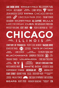 Places of Chicago on Red Chalkboard by Christopher Arndt