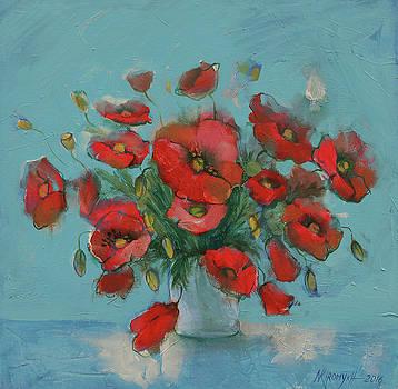 Poppies In A Vase by Khromykh Natalia