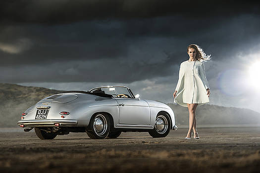 Porsche 356 Speedster with Model by George Williams