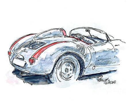 Frank Ramspott - Porsche 550 Spyder Fountain Pen Ink Drawing