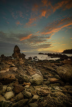 Porth Saint Beach at Dusk. by Andy Astbury