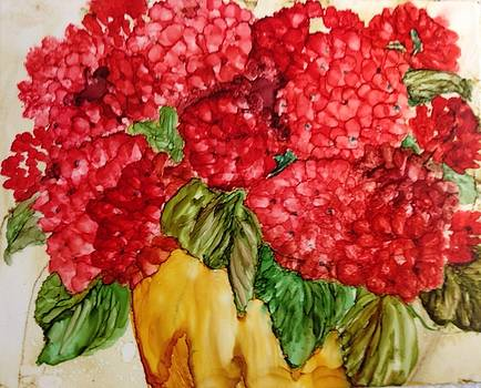 Potted Geraniums by Barbara Remensnyder
