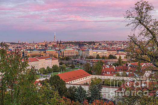 Prague skyline at sunset by Travel and Destinations - By Mike Clegg
