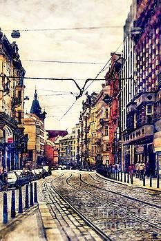 Justyna Jaszke JBJart - Prague street watercolor
