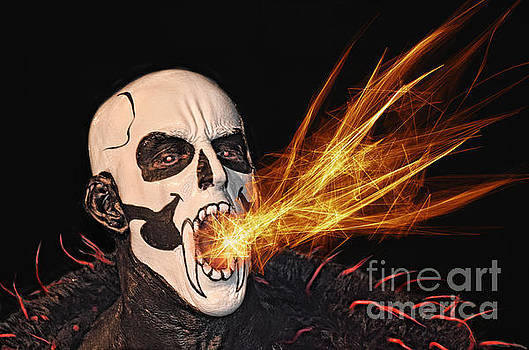 Pro Wrestler Funnybone Shooting Out Flames by Jim Fitzpatrick