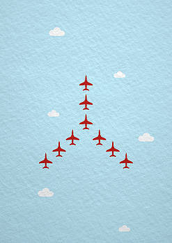 RAF Red Arrows in formation by Samuel Whitton