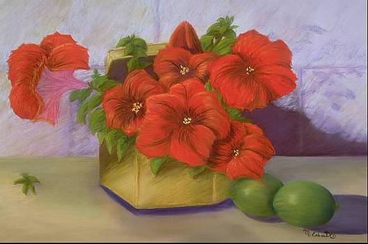 Mary Erbert - Red Petunias in a Brass Box