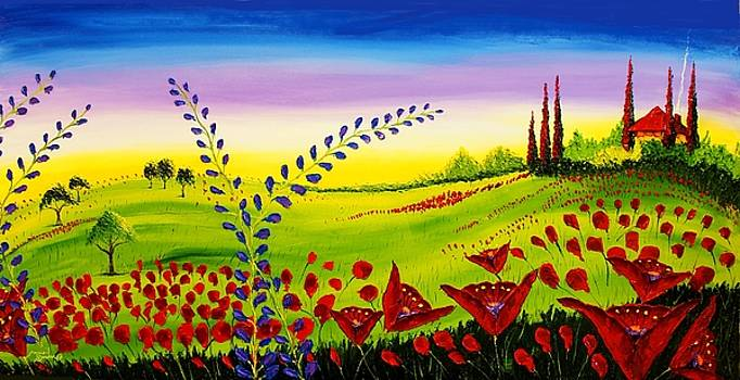 Red Poppies Of Tuscany #5 by Portland Art Creations