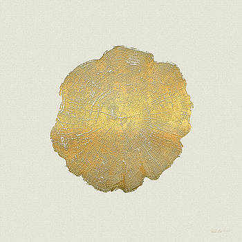 Serge Averbukh - Rings of a Tree Trunk Cross-section in Gold on Linen
