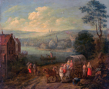 Follower of Peeter Gysels - River Landscape with Villages and Travelers