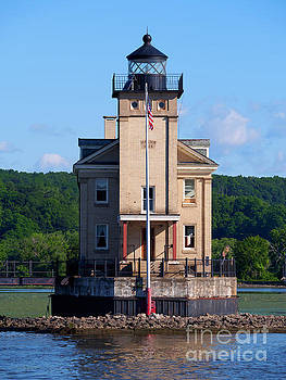 Rondout Lighthouse on the Hudson River New York by Louise Heusinkveld