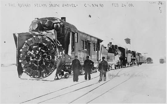Chicago and North Western Historical Society - Rotary Steam Shovel Clears Track - 1909