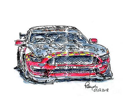 Frank Ramspott - Roush Performance KohR Motorsports Ford Mustang GT4 Ink Drawing