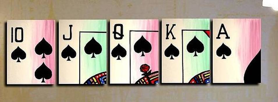 Royal Flush Of Spades Poker Art by Teo Alfonso