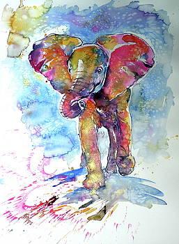 Running elephant baby by Kovacs Anna Brigitta