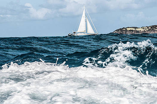 Sailboat and High Seas - Pilllsbury Sound by Thomas Marchessault