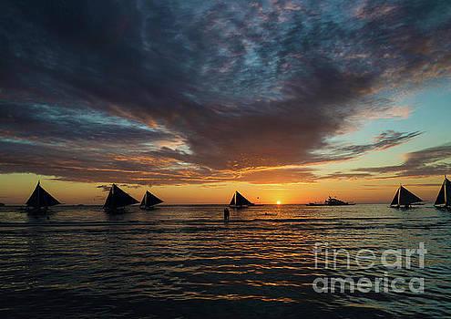 Sailing Boats At Sunset Boracay Tropical Island Philippines by Jacek Malipan