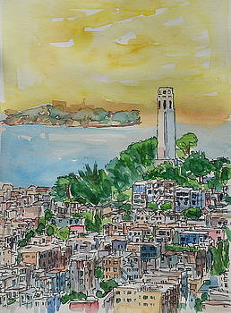 San Francisco Dusk Sunset Over Coit Tower And Alcatraz Telegraph Hill by M Bleichner