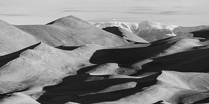 Monochrome Sand Dunes And Rocky Mountains Panorama by James BO Insogna