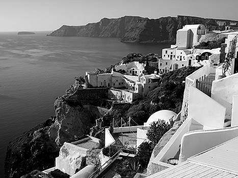 Santorini Cliffs in Black and White by Lucinda Walter