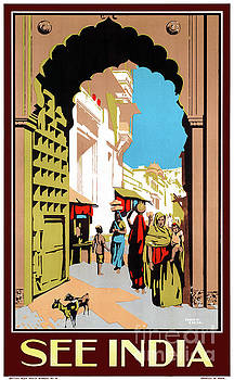 See India Vintage Travel Poster Restored by Carsten Reisinger