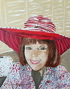 Self Portrait Red Hat by Sharon De Vore