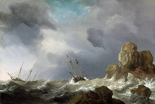 Willem van de Velde the Younger -  Ships in a Gale